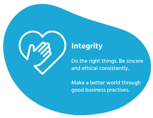 Integrity Do the right things. Be sincere and ethical consistently. Make a better world through good business practices.