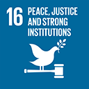 SDGs logo, Peace, Justice and Strong Institutions